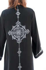 AURORA - ALX2116Z - Arabesque Classic cut abaya shape embellished with graphic hand-embroidery in thread and beads on sleeves + Middle back + Front in plain black
