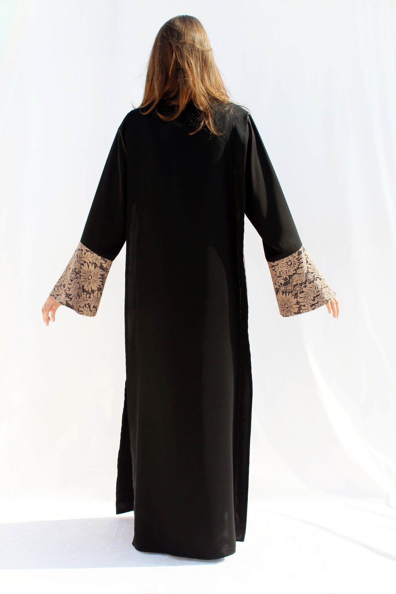 SORAYA - ACC2103A - Arabesque Classic cut abaya shape with lace embellishment on pagode sleeve end + Full front lace partially layered with black fabric on top + Black chiffon fabric under the lace + Back in plain black.