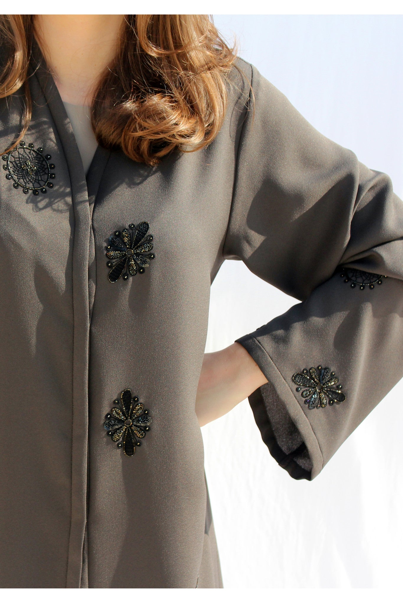 ARIELLE - ALX2109Z - Arabesque Classic cut abaya shape in full colored fabric embellished with 2 different motifs in hand embroidery with thread, sequins and beads on sleeves and scattered on front.