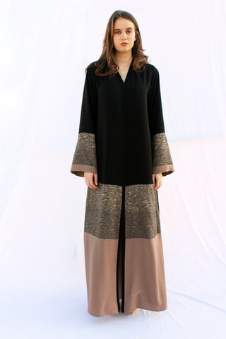 ADRIENNE - ACC2102Z - Arabesque Classic cut abaya shape with camouflage lace embellishment on top of 2 shades of beige fabrics with plain dark beige fabric on sleeves and front bottom + Back in plain black.