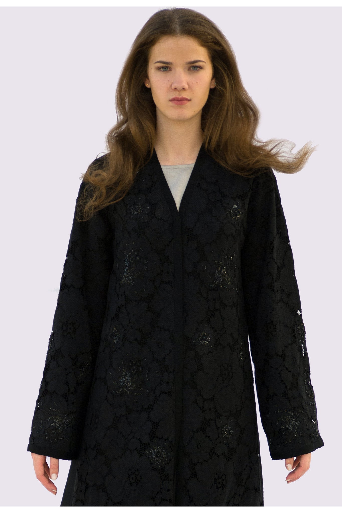 AUDREY - ALX2112B - Arabesque Classic cut abaya shape embellished with lace on top of abaya fabric, randomly hand-embroidered with black shiny beads on sleeves and front + Back in plain black.