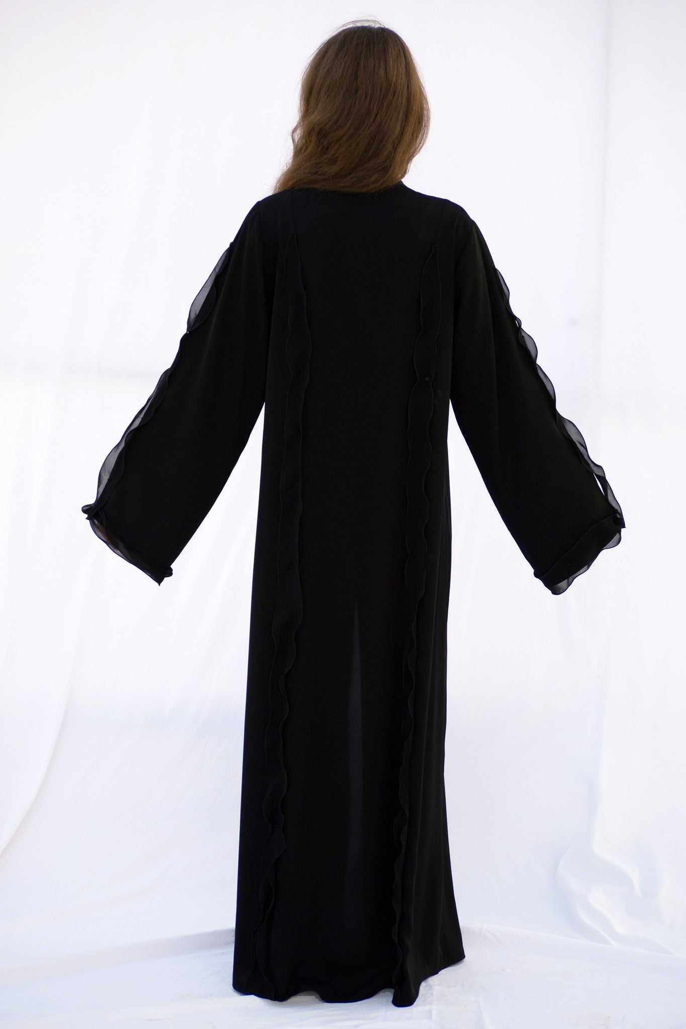 JENNA - ALB2088B - Arabesque Classic cut abaya shape with multiple joints embellished with chiffon freles and beads on front, back and sleeves.