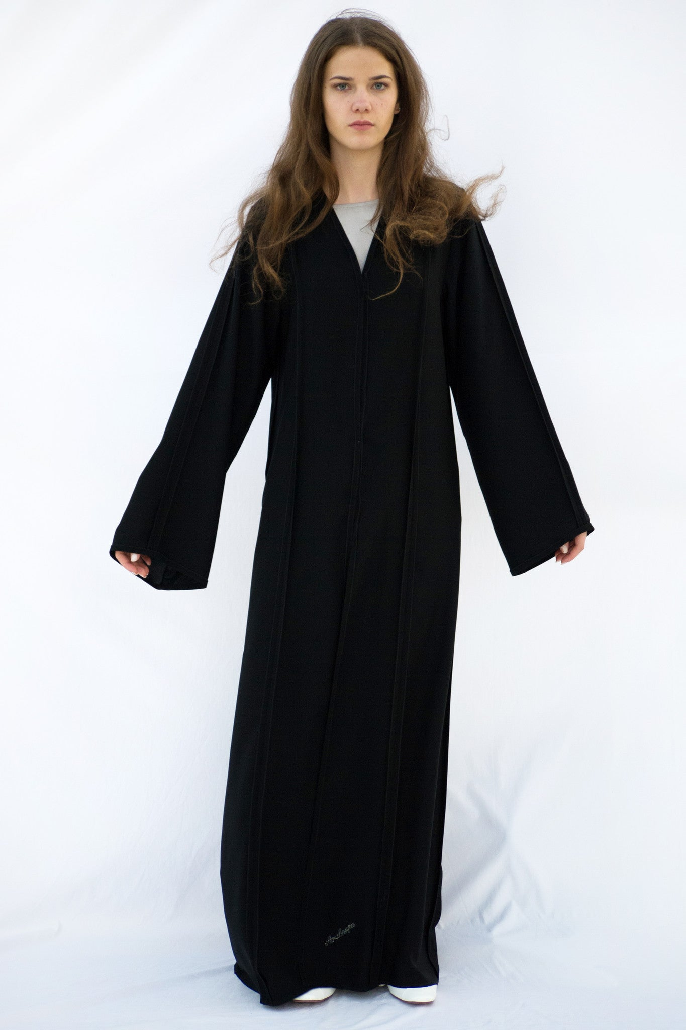 EMILY - ALB1952B - Arabesque Classic cut abaya shape embellished with multiple joints with inside-out finishing in front, back and sleeves.