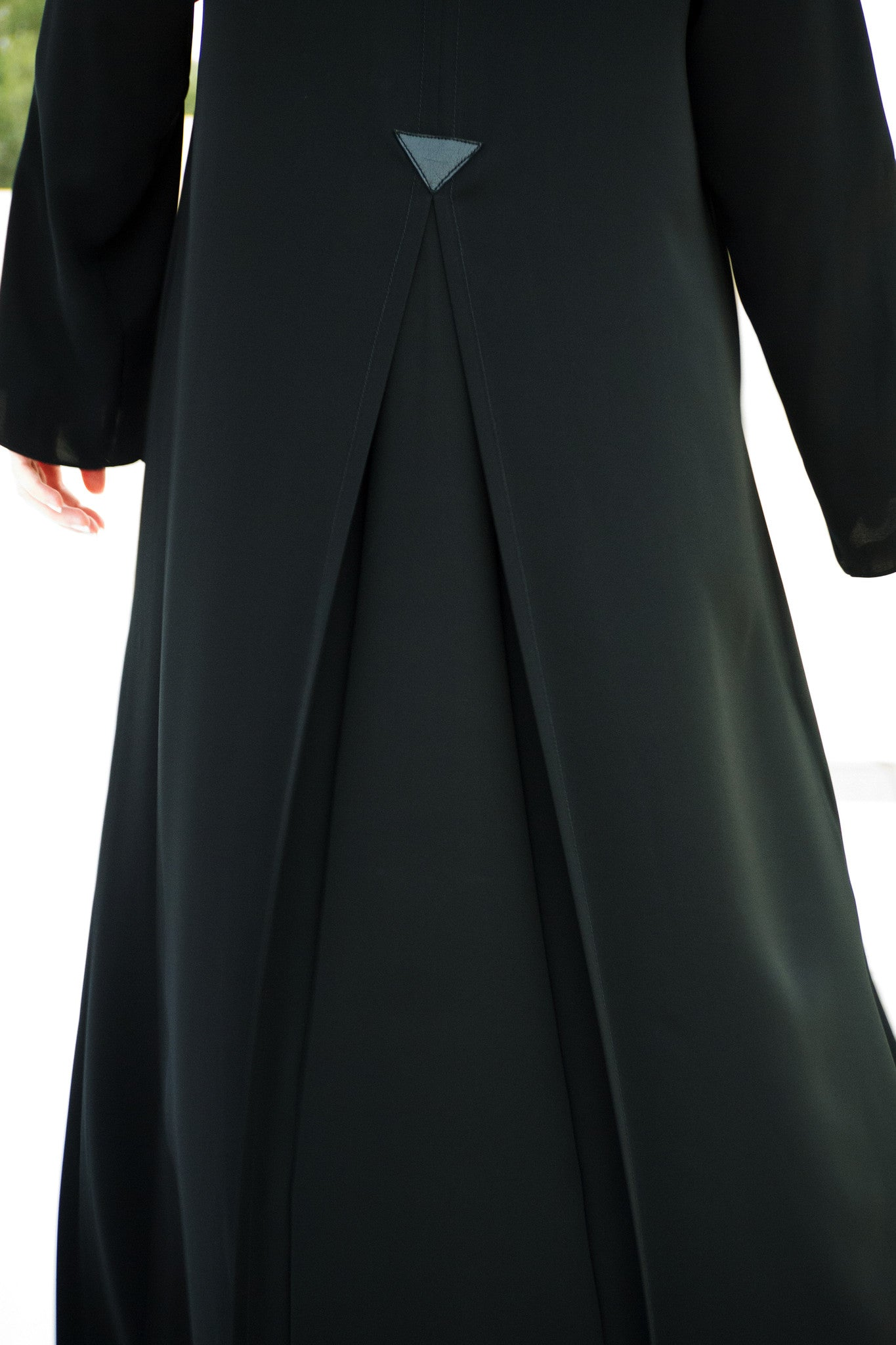 BIANCA - ALB2084B - Arabesque Classic cut abaya shape embellished with fancy box pleats with leather detail middle back and sleeves + Joints with decoration stitching on sleeves, front and middle back.