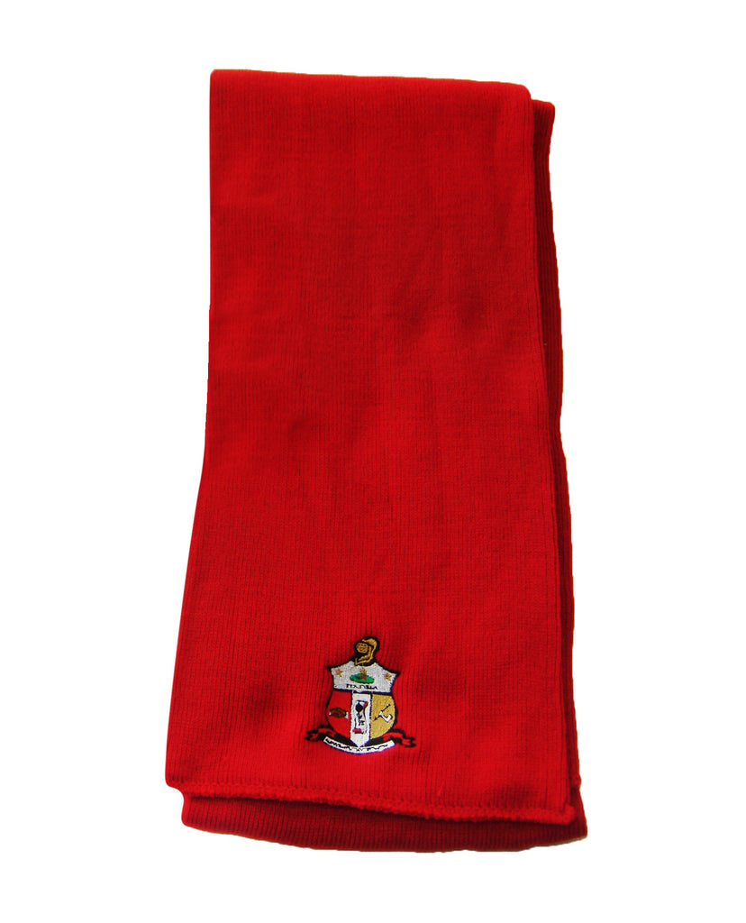 Kappa Knit Scarf with Crest, Red (One Size)
