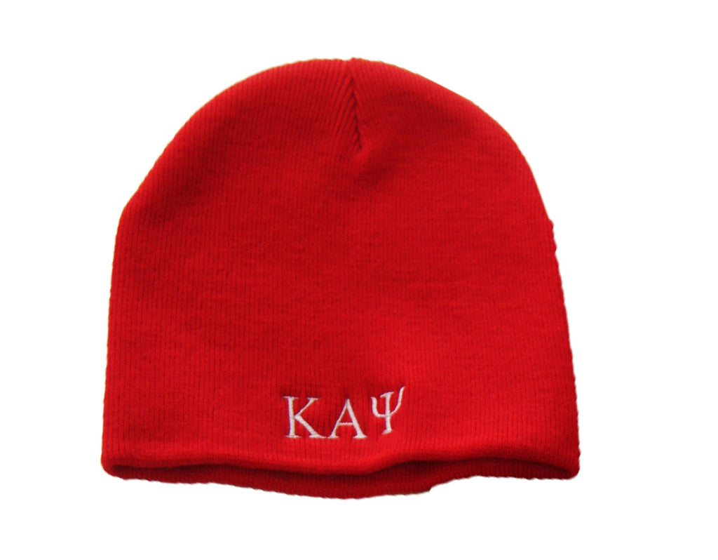 Kappa Greek Letter Beanie, Red (One Size)