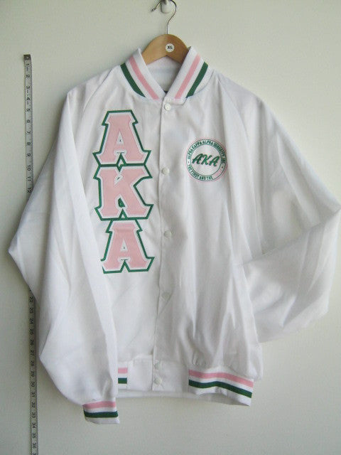 Size 2XL: AKA First & Finest Baseball Jacket with Triple-Layered Letters, White - EMBROIDERED with Lifetime Guarantee