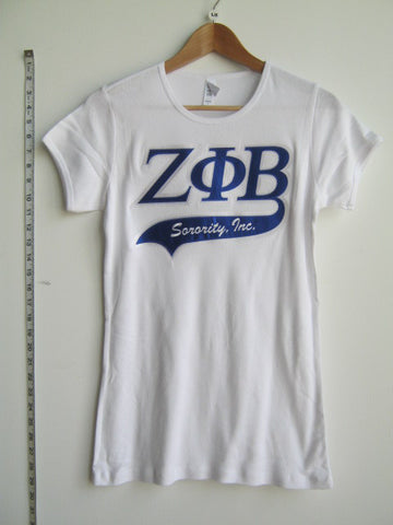 Size L: Zeta Greek Letter Tail T-Shirt, White (NS)