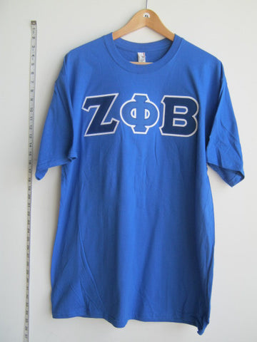 Size XL: Zeta Greek Letter T-Shirt, Royal Blue - EMBROIDERED with Lifetime Guarantee