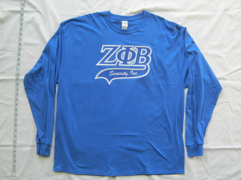 Size 2XL: Zeta Greek Letter Tail Long Sleeve Shirt, Royal Blue (NS)