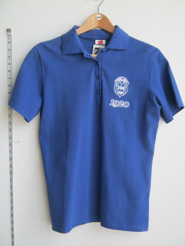 Size M: Zeta 1920 Crest Polo Shirt, Royal Blue - EMBROIDERED with Lifetime Guarantee