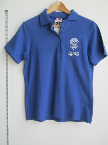 Size S: Zeta 1920 Crest Polo Shirt, Royal Blue - EMBROIDERED with Lifetime Guarantee
