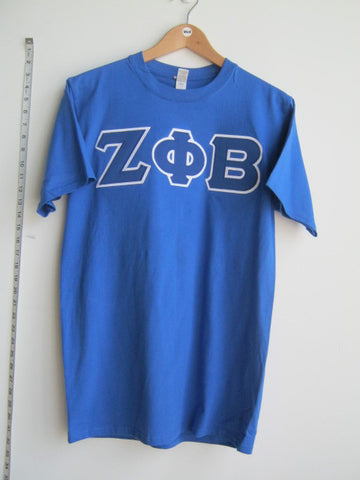 Size M: Zeta Greek Letter T-Shirt, Royal Blue - EMBROIDERED with Lifetime Guarantee