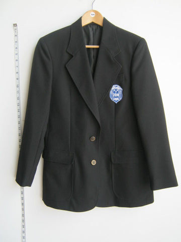 Size S: Zeta Crest Blazer, Black - EMBROIDERED with Lifetime Guarantee