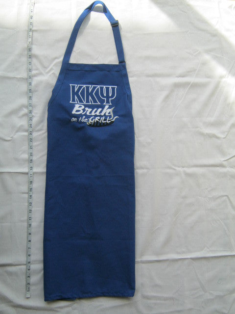 KKPsi on the Grill Apron, Royal Blue (One Size) - EMBROIDERED with Lifetime Guarantee