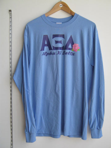 Size M: AXD Greek Letter Long Sleeve Shirt, Columbia Blue - Screen Printed