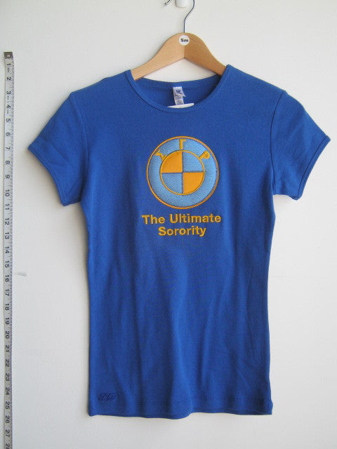 Size S: SGRho Ultimate Sorority T-Shirt, Royal Blue - EMBROIDERED with Lifetime Guarantee