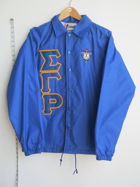 Size S: SGRho Greek Letter Crossing/Line Jacket with Crest, Royal Blue - EMBROIDERED with Lifetime Guarantee