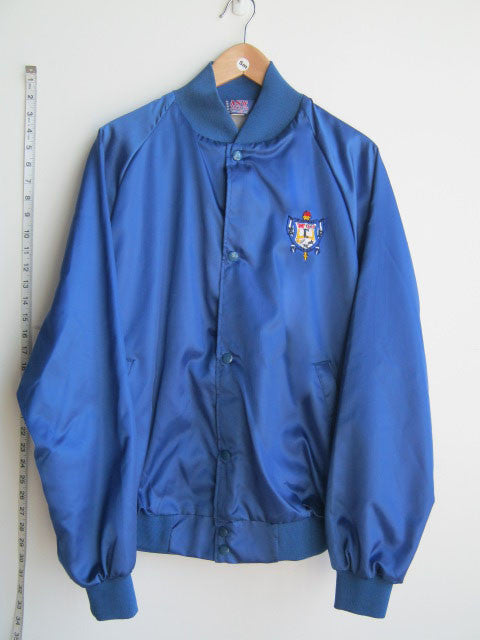 Size S: SGRho Satin Baseball Jacket with Crest, Royal Blue - EMBROIDERED with Lifetime Guarantee