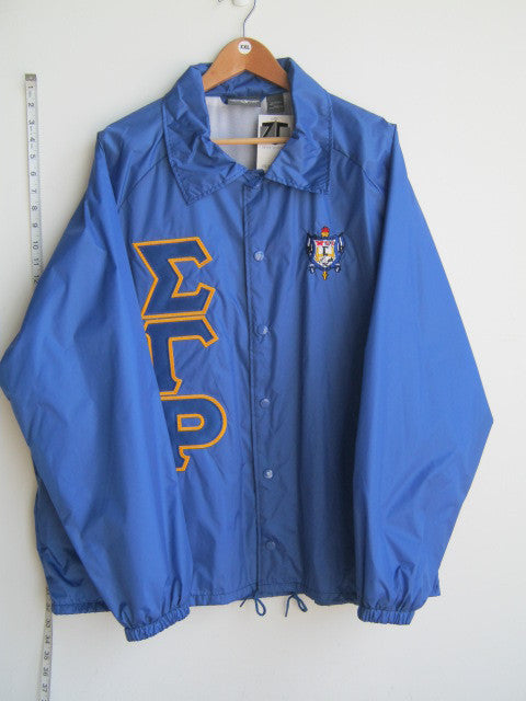Size 2XL: SGRho Greek Letter Crossing/Line Jacket with Crest, Royal Blue - EMBROIDERED with Lifetime Guarantee