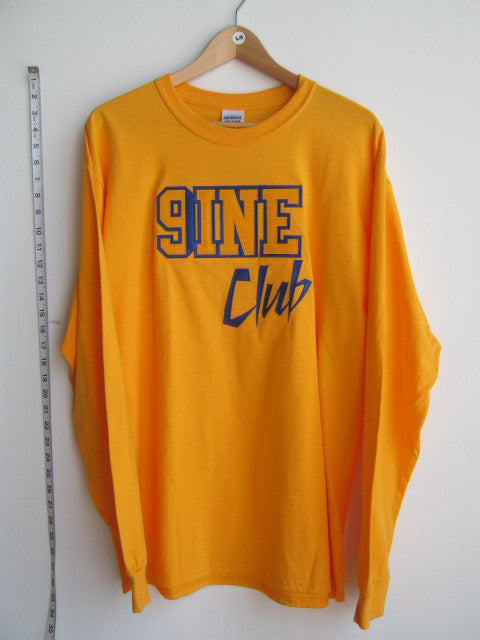 Size L: Nine Club Long Sleeve T-Shirt, Gold - EMBROIDERED with Lifetime Guarantee