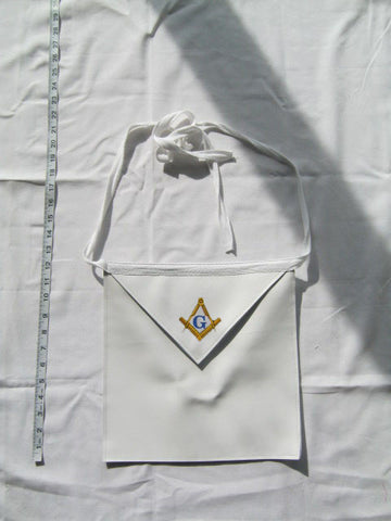 Masonic Apron, White (One Size) - EMBROIDERED with Lifetime Guarantee