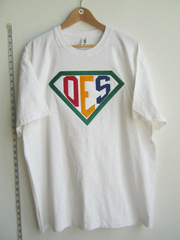 Size XL: Super OES T-Shirt, White - EMBROIDERED with Lifetime Guarantee