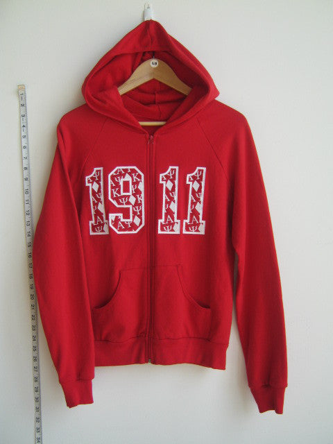Size L: Kappa 1911 Zip-Up Hoodie, Red - EMBROIDERED with Lifetime Guarantee