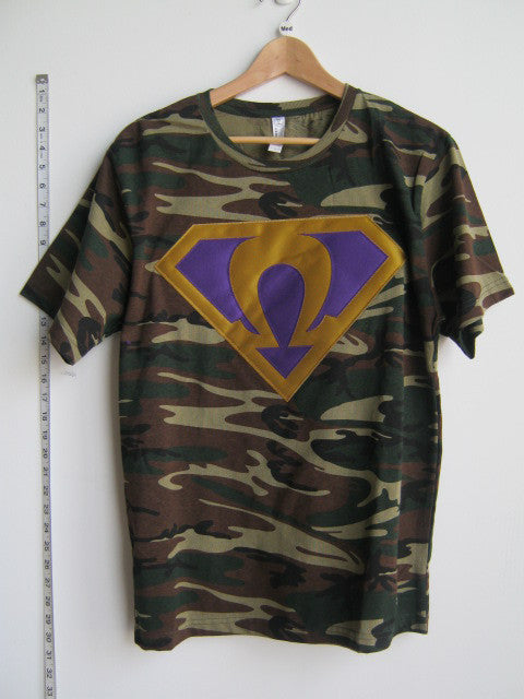 Size M: Super Omega T-Shirt, Camo - EMBROIDERED with Lifetime Guarantee