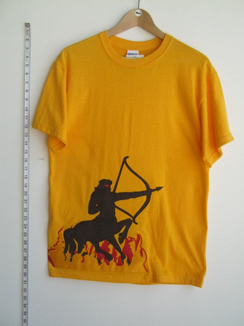 Size M: Iota Centaur T-Shirt, Gold - EMBROIDERED with Lifetime Guarantee