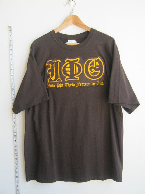 Size XL: Iota Old English Greek Letter T-Shirt, Brown - EMBROIDERED with Lifetime Guarantee