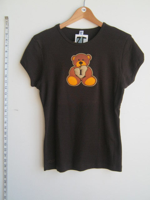 Size L: Iota Sweetheart Teddy Bear T-Shirt, Brown - EMBROIDERED with Lifetime Guarantee