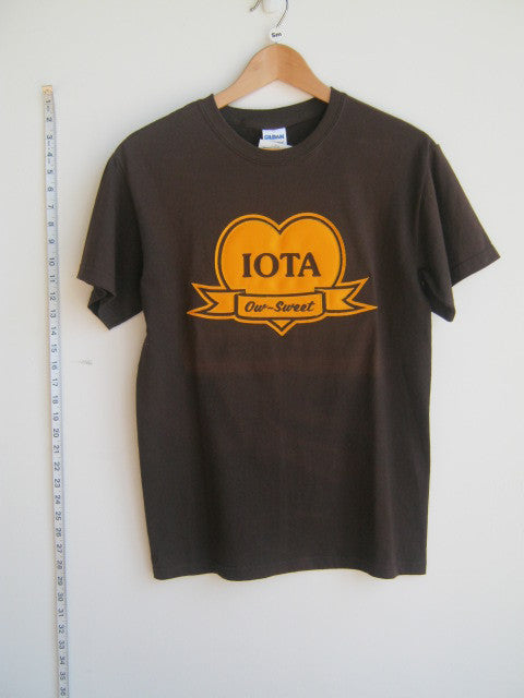 Size S: Iota Sweetheart Ow-Sweet T-Shirt, Brown - EMBROIDERED with Lifetime Guarantee