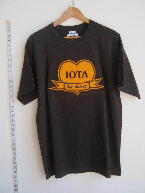 Size L: Iota Sweetheart Ow-Sweet T-Shirt, Brown - EMBROIDERED with Lifetime Guarantee