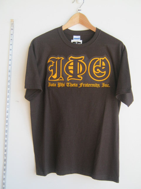 Size M: Iota Old English Greek Letter T-Shirt, Brown - EMBROIDERED with Lifetime Guarantee