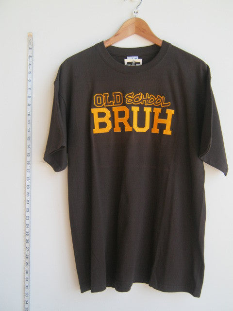 Size L: Brown/Gold Old School Bruh T-Shirt, Brown - EMBROIDERED with Lifetime Guarantee