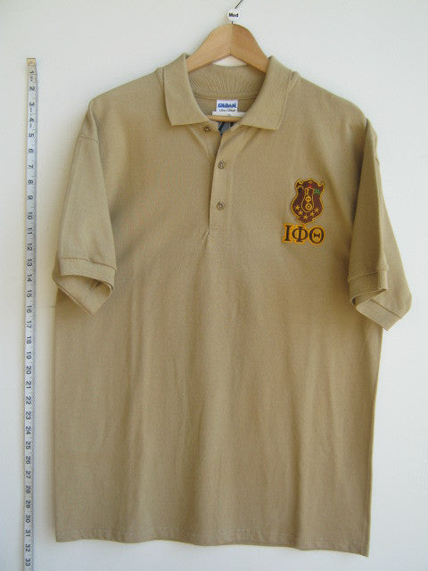 Size M: Iota Crest Polo Shirt with Greek Letters, Tan - EMBROIDERED with Lifetime Guarantee