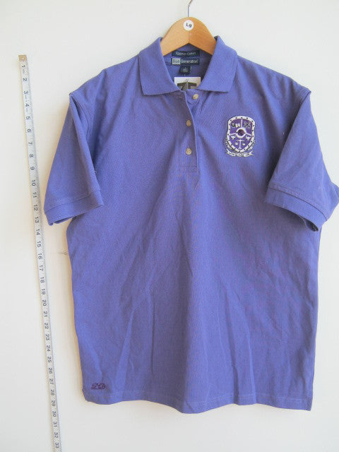 Size L: Sigma Lambda Beta Crest Polo Shirt, Purple - EMBROIDERED with Lifetime Guarantee