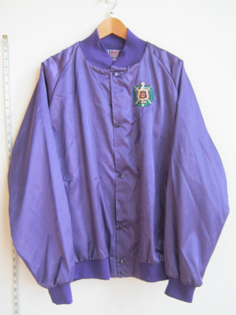 Size XL: Omega Crest Baseball Jacket, Purple - EMBROIDERED with Lifetime Guarantee