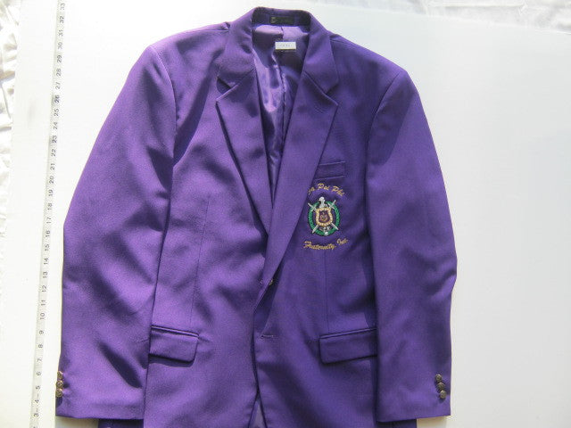 Size 44XL: Omega Crest Blazer with Organization Name, Purple - EMBROIDERED with Lifetime Guarantee