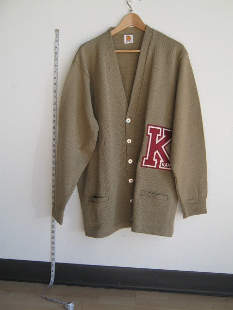 Size 2XL: Kappa Big Varsity Letter Cardigan, Tan - EMBROIDERED with Lifetime Guarantee