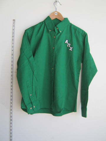 Size M: APChi Greek Logo Letter Button Down Shirt, Kelly Green - EMBROIDERED with Lifetime Guarantee