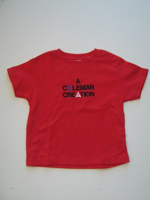 Size 5/6T: Coleman Creation FratBrat T-Shirt, Red - EMBROIDERED with Lifetime Guarantee
