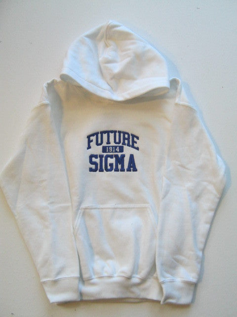 Size M: Future Sigma FratBrat Hoodie, White - EMBROIDERED with Lifetime Guarantee