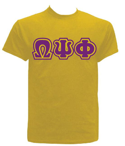 DTG- Letters(Gold)-Omega Psi Phi - Pre-Order for Atlanta Greek Picnic Pick Up At Zeus Closet