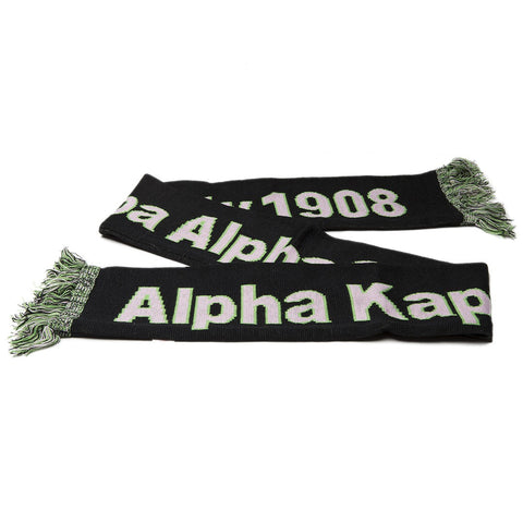 AKA Knit Scarf with Fringe, Black (One Size)