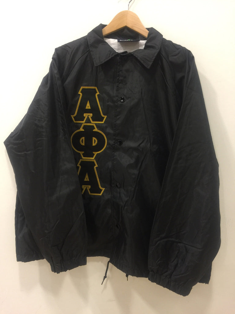 Size M: Alpha Greek Letter Crossing/Line Jacket, Black - EMBROIDERED with Lifetime Guarantee