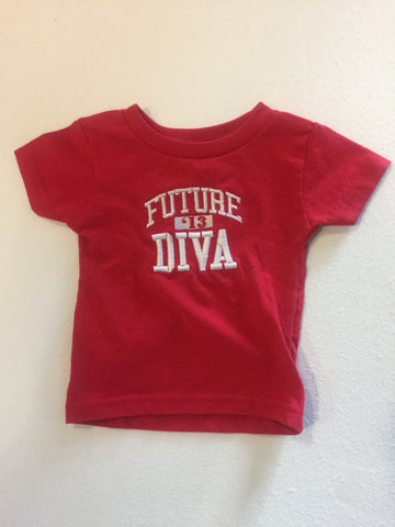 Size 12 Mon: Future Diva FratBrat T-Shirt, Red - EMBROIDERED with Lifetime Guarantee