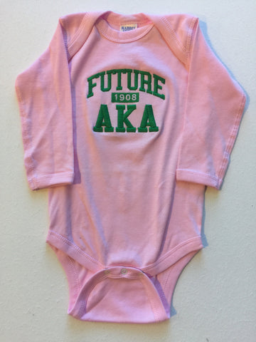 Size 12 Mon: Future AKA FratBrat Long Sleeve Creeper, Pink - EMBROIDERED with Lifetime Guarantee