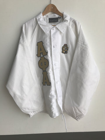 Alpha Greek Letter Crossing/Line Jacket with Crest, White - EMBROIDERED with Lifetime Guarantee